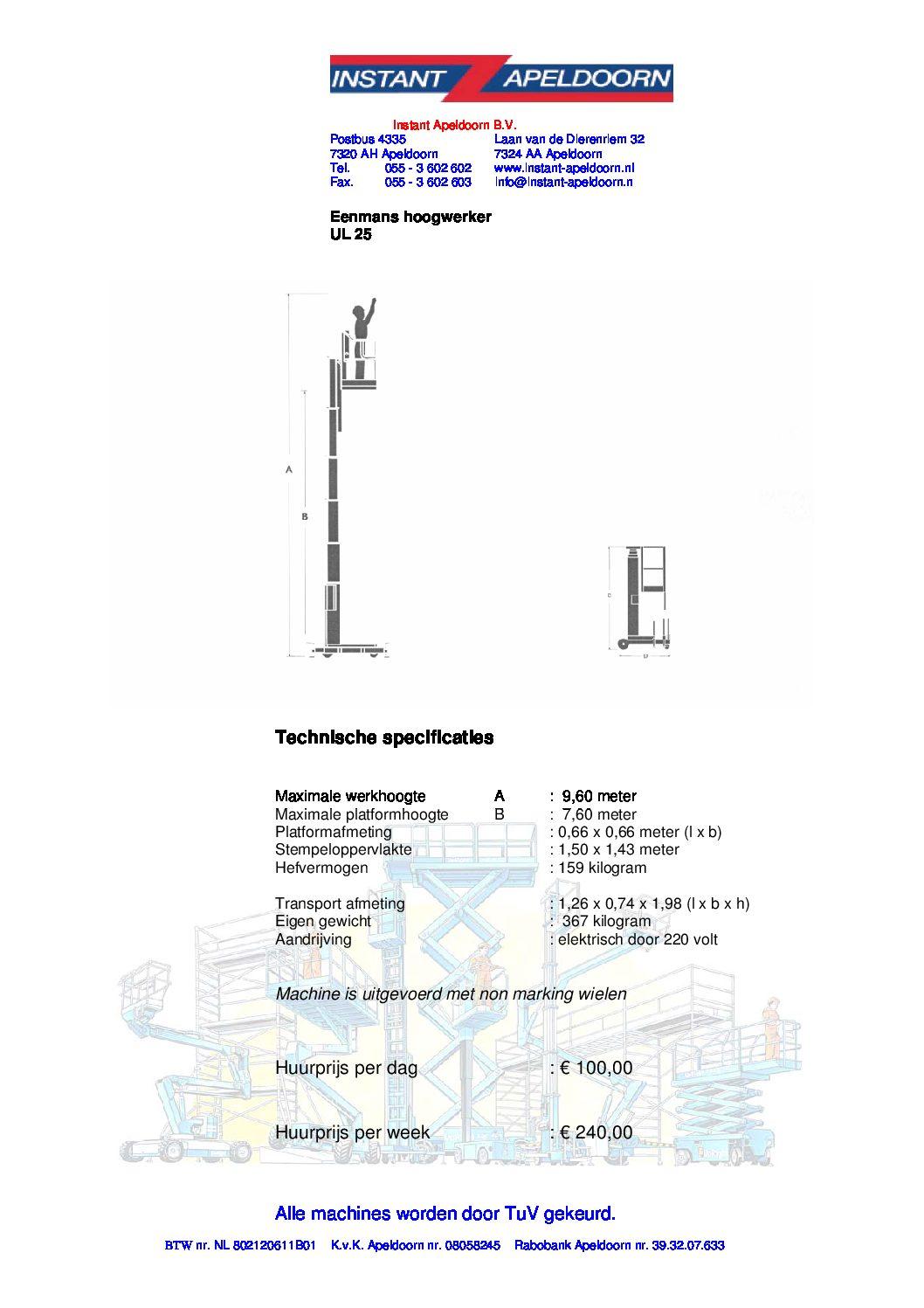 Eenpersoons Mast hoogwerker